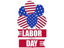 Labour Day 1st of May. International Workers Day. Colors of the US flag. Ribbon and balloons Vector. Illustration Stock Images