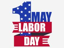 Labour Day 1st of May. International Workers Day. The colors of the US flag. Ribbon with text, logo. Vector. Illustration Royalty Free Stock Image