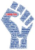 Labour day 1st may. Word cloud Stock Illustration