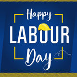 Labour Day USA card. Happy Labour Day lettering with helmet vector background. International Workers day illustration for greeting card Stock Image