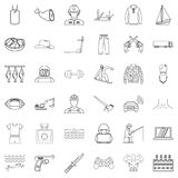 Labour legislation icons set, outline style. Labour legislation icons set. Outline set of 36 labour legislation vector icons for web isolated on white background Royalty Free Stock Image