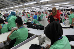 Labour. Was working in a garment factory in Wonogiri, Central Java, Indonesia Stock Photography