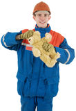 Labourer with bear Royalty Free Stock Photography