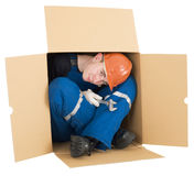 Labourer in box Stock Photos
