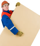 Labourer with box Royalty Free Stock Images