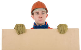 Labourer with box Stock Image