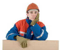 Labourer with box Stock Photo