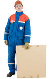 Labourer with box Royalty Free Stock Photo