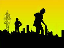 Labourer in factory. On gradient background Royalty Free Stock Image