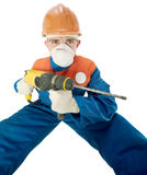 Labourer with hand drill Royalty Free Stock Photo