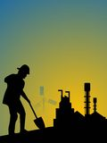 Labourer with spade. Laborer with spade in factory Stock Photos