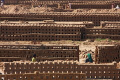 Labourers prepare bricks at a brick kiln Stock Photography