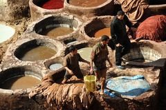 Labours of tanneries Royalty Free Stock Image