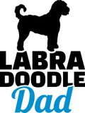 Labradoodle dad silhouette. With blue word Royalty Free Stock Image