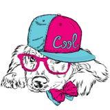 Labrador che indossa un cappuccio e un legame Cane di razza Cane di vettore Cartolina con il Labrador hipster Immagine Stock Libera da Diritti
