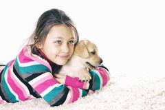 Labrador and child Stock Photo