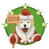 Labrador dog happy new year 2018. Labrador dog, he smiles and shows that it`s the new year and 2018 congratulates all Royalty Free Stock Image