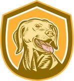 Labrador Dog Head Shield Woodcut Royalty Free Stock Image