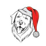Labrador dog in Santa Claus hat. Illustration Stock Image
