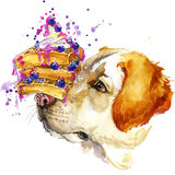 Labrador dog, Viennese waffles and berries T-shirt graphics, dog illustration Stock Photography