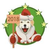 Labrador-Hundeguten rutsch ins neue jahr 2018 Lizenzfreies Stockbild