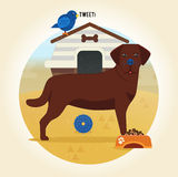 Labrador-Ikone in der flachen Art Formate ENV und Jpg Lizenzfreies Stockfoto