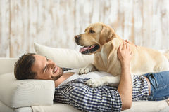 Labrador lying with its human Stock Photography