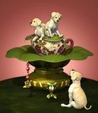Labrador Puppies. A decorative illustration with three yellow Labrador puppies Stock Image