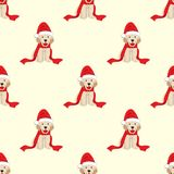 Labrador retriever avec Santa Hat Seamless sur le fond beige en ivoire Illustration de vecteur Illustration Libre de Droits