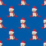 Labrador retriever avec Santa Hat Seamless sur le fond bleu Illustration de vecteur Illustration de Vecteur