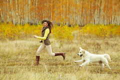 Labrador retriever con el dueño fotografía de archivo