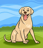 Labrador retriever dog cartoon illustration. Cartoon Illustration of Funny Labrador Retriever Dog against Blue Sky and Rural Scene Royalty Free Stock Photos