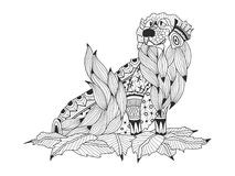 Labrador Retriever in the leaves coloring book for adults raster. Illustration. Anti-stress coloring for adult dog. Zentangle style nature pet. Black and white Stock Photo