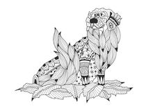 Labrador Retriever in the leaves coloring book for adults vector Stock Photo