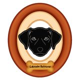 Labrador Retriever Portrait, Wood Frame, Dog Bone Tag Royalty Free Stock Images