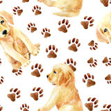 Labrador retriever puppy seamless pattern Stock Photo