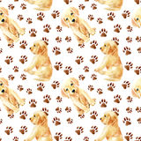 Labrador retriever puppy seamless pattern. Cute puppies with footprints. Hand painted dogs watercolor illustration Royalty Free Stock Images