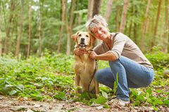 Labrador Retriever with woman Stock Photos