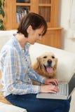 Labrador Sitting Next To Owner Using Laptop Royalty Free Stock Image
