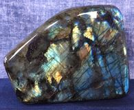 Labradorite Crystal. Healing metaphysical aura properties blue new-age natural stone Stock Images