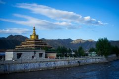 Labrang Monastery of Gannan. Labrang Monastery is a Tibetan architectural layout, built form, mostly Tibetan, Han and Tibetan and Chinese palace-style and mixed Royalty Free Stock Photo