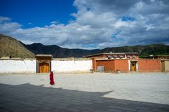 Labrang Monastery of Gannan. Labrang Monastery is a Tibetan architectural layout, built form, mostly Tibetan, Han and Tibetan and Chinese palace-style and mixed Stock Photos