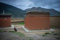 Labrang Monastery of Gannan. Labrang Monastery is a Tibetan architectural layout, built form, mostly Tibetan, Han and Tibetan and Chinese palace-style and mixed Stock Images