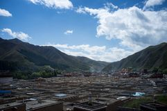 Labrang Monastery of Gannan. Labrang Monastery is a Tibetan architectural layout, built form, mostly Tibetan, Han and Tibetan and Chinese palace-style and mixed Stock Photography