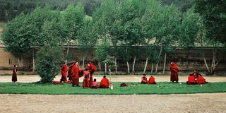 young tibetan buddhist monks gathering on a small grassy field during stormy winds royalty free stock photo