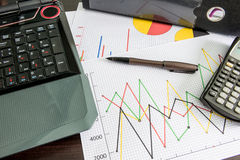 Labtop , financial charts , Calculator , Document file , pen on Royalty Free Stock Image