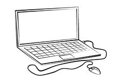 Labtop-line drawings Stock Image