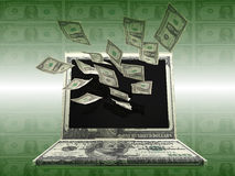 Labtop Money Stock Image