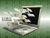 Labtop Money Royalty Free Stock Photo