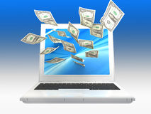 Labtop Money Royalty Free Stock Image